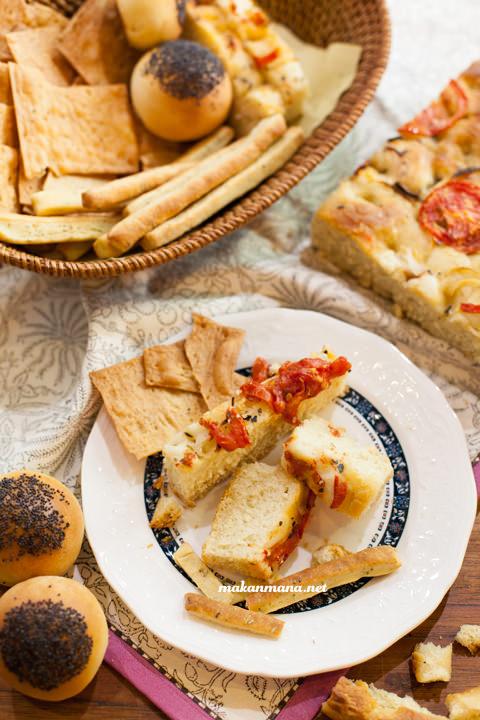 Classico pane Italiano con grissini panino focaccia crackers