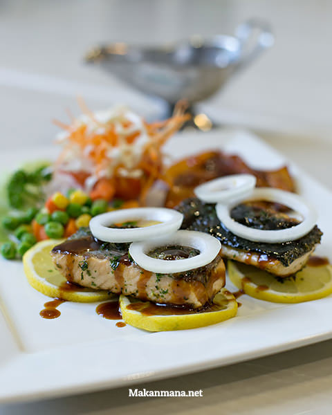 Grilled authentic salmon steak